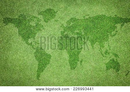 Natural Grass Texture Pattern Background Of Golf Course Turf Lawn With World Map From Top View Lawn