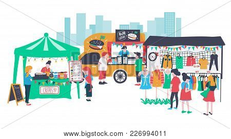 People Selling And Shopping At The Market Fair Or Walking Street Consisting Of Burger Food Truck , B