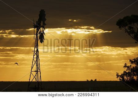 Australian Windmill In The Countryside