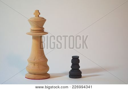 Macro Shot Of Chess, Big One And Small One