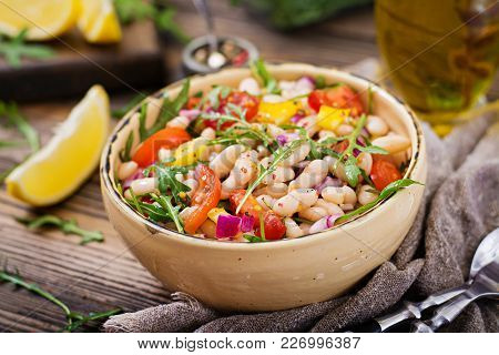 White Bean Cannellini Salad. Vegan Salad. Diet Menu