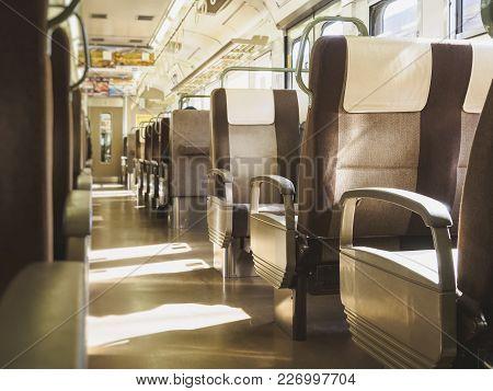 Train Travel Passenger Seats Row People Sit In Train Japan Train Interior