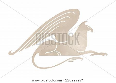 Silhouette Of Griffin. Stylized Gryphon Image. Vector Illustration Of Mythical Creature. Isolated On