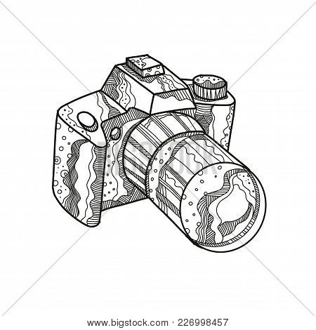 Doodle Art Illustration Of A Dslr Camera, Digital Slr Or Digital Single-lens Reflex Camera Done In M