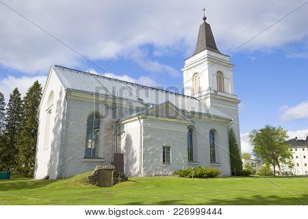 The Old Saint Mary Church (vehkalahti) Closeup On A Sunny Day. Hamina, Finland