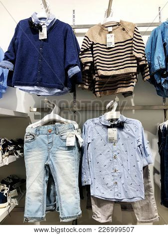 Rishon Le Zion, Israel- January 3, 2018: Inside The Clothing Store At Azrieli Department Store In Ri