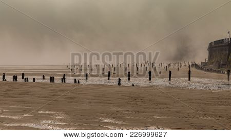 Wooden Stakes On A Foggy Beach, Seen At Sandsend Beach Near Whitby, North Yorkshire, Uk