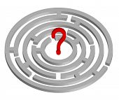 abstract image of a maze and a question mark poster