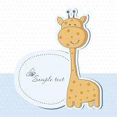 Baby boy shower card with cute giraffe poster