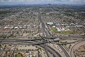Aerial view of the Phoenix Skyline with Mini Stack Interchange poster