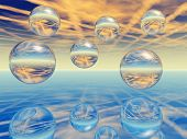 Glass spheres hanging above a smooth surface - digital artwork. poster