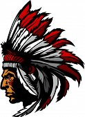Graphic Native American Indian Chief Mascot with Headdress poster