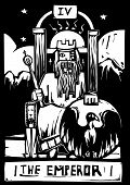 Woodcut image of the Tarot Card for the Emperor poster