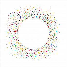 Circular Frame With Colorful Confetti On A White Background