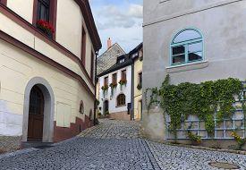 Street In Medieval Town. Loket, Czech Republic.