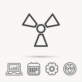 Radiation Icon. Radiology Sign. Notebook, Calendar And Cogwheel Signs. Download Arrow Web Icon. Vect