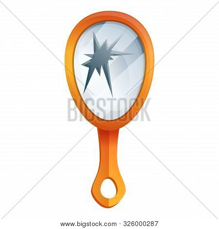 Broken Hand Mirror Icon. Cartoon Of Broken Hand Mirror Vector Icon For Web Design Isolated On White