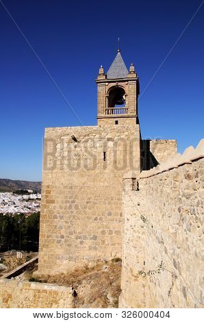 View Along The Castle Battlements Towards The Keep Tower, Antequera, Malaga Province, Andalucia, Spa