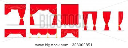 Red Curtains Flat Illustrations Set. Drape And Lambrequins Of Heavy Fabric. Classic Wide Curtains In