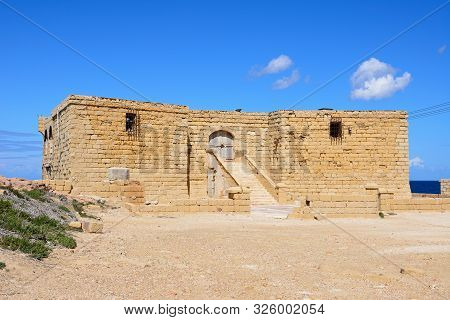 View Of The Entrance To The Il-qolla I-badja Battery, Redoubt, Marsalforn, Gozo, Malta, Europe.