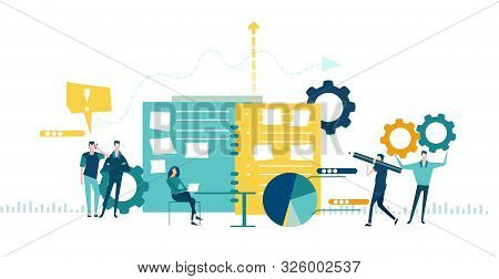 Team Of Business Working In Office. Global Business, Logistics, Developing And Support Concept Illus