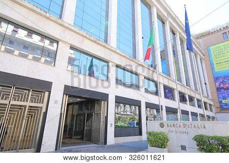 Rome Italy - June 13, 2019: Bank Of Italy Rome Italy