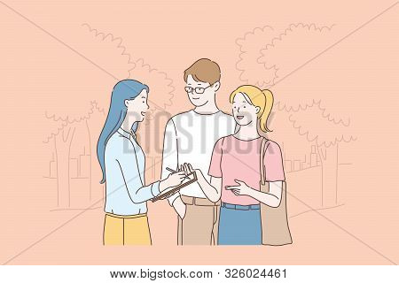 Researcher Doing Sociological Survey, Poll Cartoon Concept. Woman Studying Public Opinion, Communica