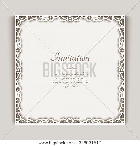 Square Frame With Ornamental Lace Border, Cutout Paper Decoration, Elegant Wedding Invitation Or Tab