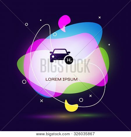 Black Hydrogen Car Icon Isolated On Dark Blue Background. H2 Station Sign. Hydrogen Fuel Cell Car Ec