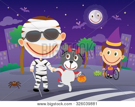Happy Blind Child With Cane And Sunglasses Dressed As A Mummy Cross The Road At A Zebra Crossing Wit