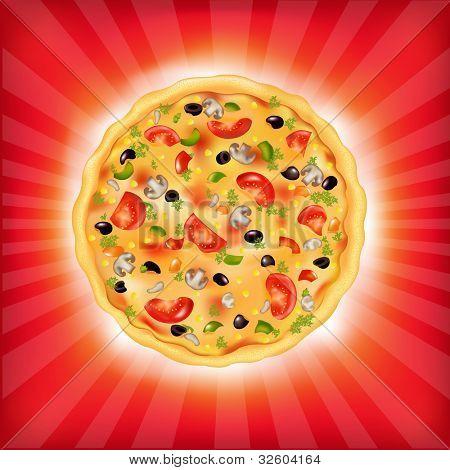 Red Sunburst Background With Pizza, Vector Illustration