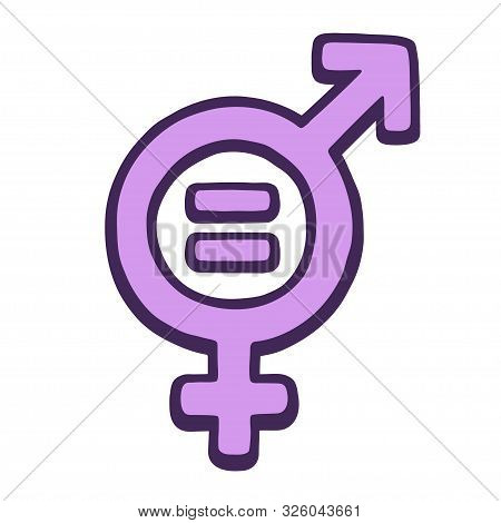 Hand Drawn Gender Equality Symbol. Female And Male Signs Combined With Mathematical Equals Sign. Fem