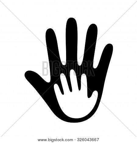 Adult Hand Palm Holding Child Hand Symbol. Family And Parenthood, Child Care And Social Charity Logo