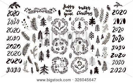 Merry Christmas. Handwriting Inscription  With  Mistletoe, ,christmas Wreath, Conifers: Fir, Larch,