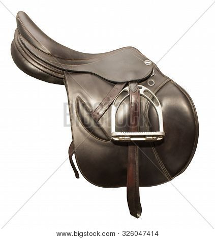 Competitive Saddle Of Dark Brown Leather On The Side On A White Background