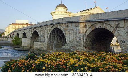 famous  old bridge in macedonian capitol skopje poster