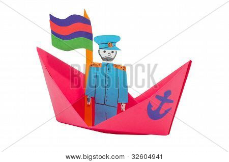 Paper ship with captain