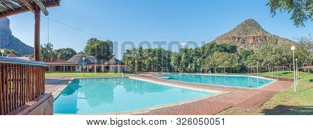 Swadini, South Africa - May 19, 2019: View Of The Swadini Holiday Resort. Swimming Pools Are Visible