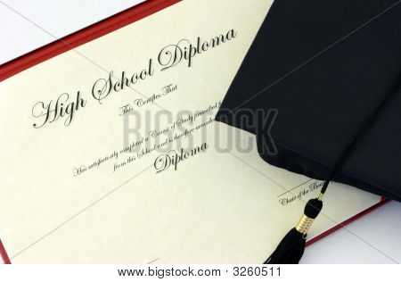 High School Diploma And Cap