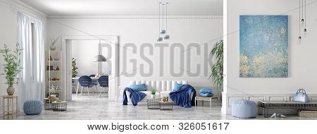 Modern Interior Design Of Scandinavian Apartment, Living Room With White Sofa, Dining Room And Hall,