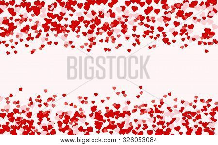 Ruby Red Flying Hearts Bright Love Passion Frame Border Background. Beautiful Confetti Hearts Fallin