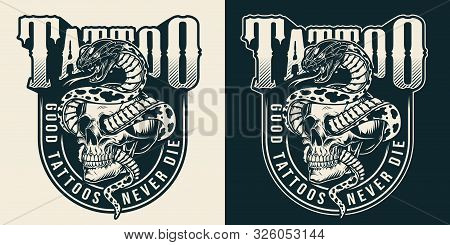 Vintage Tattoo Studio Monochrome Label With Snake Entwined With Skull Isolated Vector Illustration
