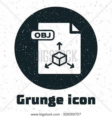 Grunge Obj File Document. Download Obj Button Icon Isolated On White Background. Obj File Symbol. Ve