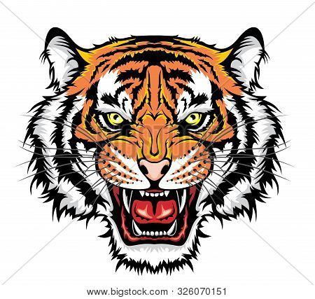 Angry Tiger Head. Vector Illustration For Use As Print, Poster, Sticker, Logo, Tattoo, Emblem And Ot