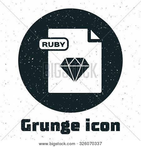 Grunge Ruby File Document. Download Ruby Button Icon Isolated On White Background. Ruby File Symbol.