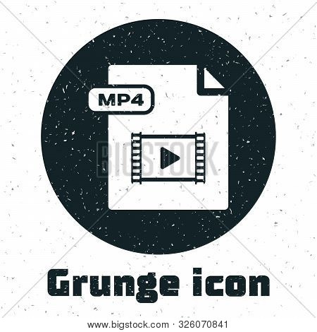 Grunge Mp4 File Document. Download Mp4 Button Icon Isolated On White Background. Mp4 File Symbol. Ve