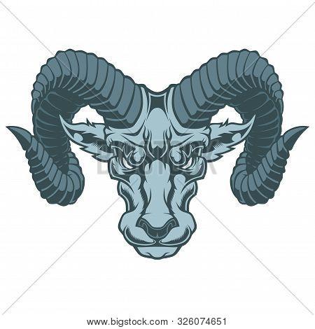 Illustration Of Aries Zodiac Sign. Vector Illustration For Use As Print, Poster, Sticker, Logo, Tatt