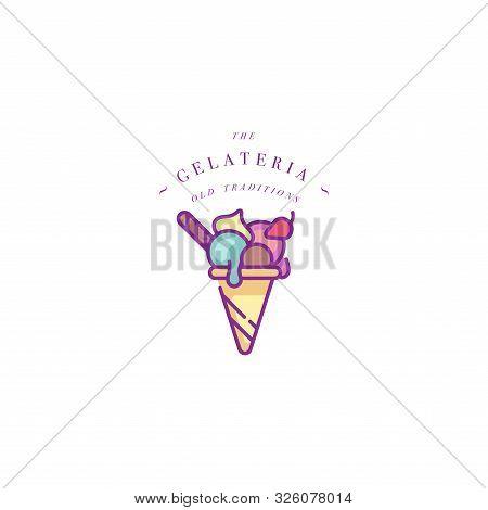 Vector Design Colorful Template Logo Or Emblem - Ice Cream, Gelato. Ice Cream Icon. Logo In Trendy L