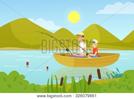 Father And Son Fishing In Boat Flat Vector Illustration. Daddy And Teenage Boy Enjoying Summer Outdo