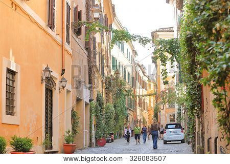 Rome Italy - June 15, 2019: Unidentified People Visit Traditional Trastevere Area Rome Italy